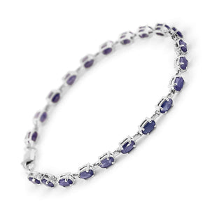 8 Carat 14K Solid White Gold Tennis Bracelet Natural Sapphire