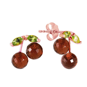 14K Solid Rose Gold Earrings  Garnets & Peridots