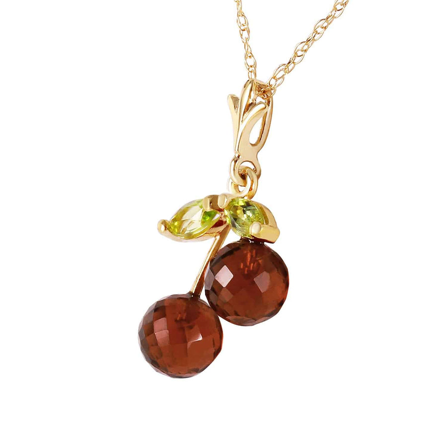 1.45 Carat 14K Solid Yellow Gold Cherry Pie Garnet Peridot Necklace