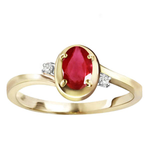 0.51 Carat 14K Solid Yellow Gold Preachings Of Love Ruby Diamond Ring - Ring - valdajewelry - valdajewelry