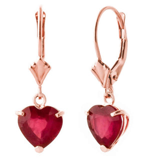 14K Solid Rose Gold Leverback Ruby Gemstone Earrings