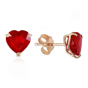 2.9 Carat 14K Solid Yellow Gold Stud Earrings Natural Heart Ruby