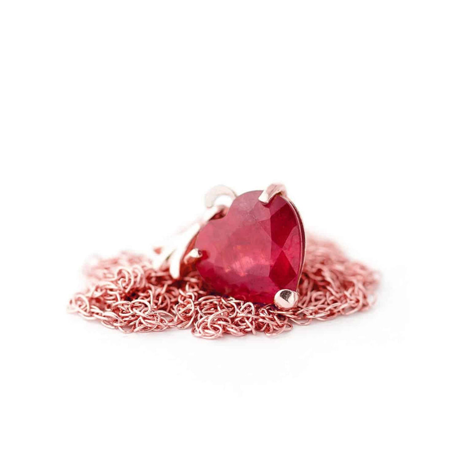 1.45 Carat 14K Solid Rose Gold Necklace Natural Heart Ruby