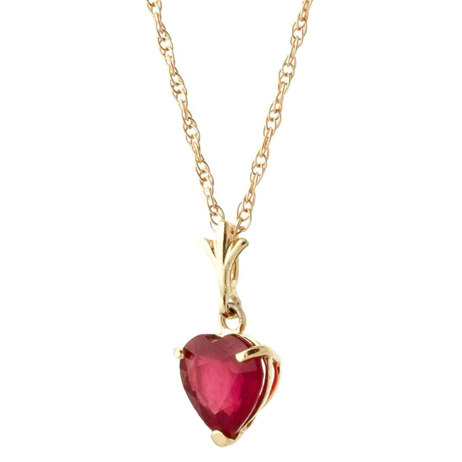 1.45 Carat 14K Solid Yellow Gold Pendant Necklace Natural Heart Ruby