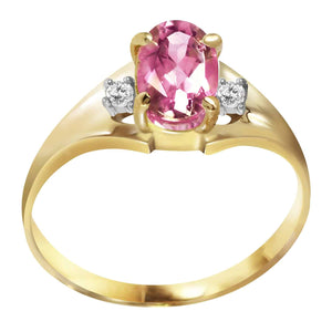 0.76 Carat 14K Solid Yellow Gold Dreams Don't Recede Pink Topaz Diamond Ring - Ring - valdajewelry - valdajewelry