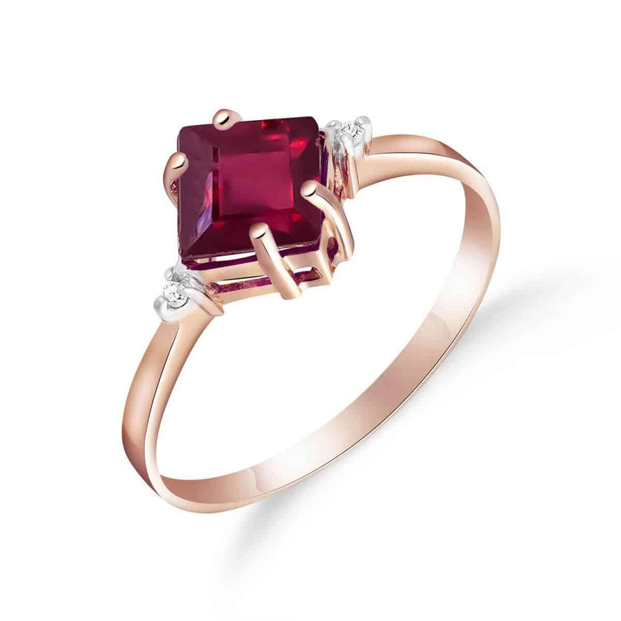 1.46 Carat 14K Solid Rose Gold Espirit Ruby Diamond Ring