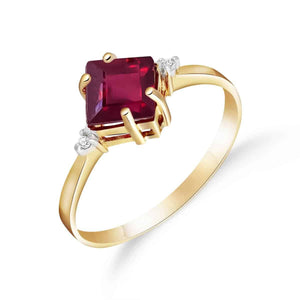1.46 Carat 14K Solid Yellow Gold My Fire Inside Ruby Diamond Ring