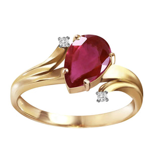 1.51 Carat 14K Solid Yellow Gold Have And Hold Ruby Diamond Ring