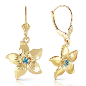 0.2 Carat 14K Solid Yellow Gold Leverback Flowers Earrings Blue Topaz - Earring - valdajewelry - valdajewelry