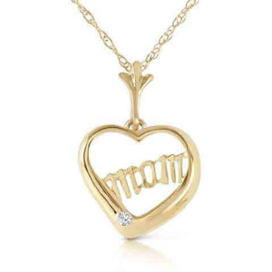 0.01 Carat 14K Solid Yellow Gold Mama Mia Diamond Necklace