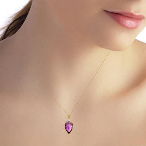 9.55 Carat 14K Solid Yellow Gold Necklace Diamond Briolette Drop Amethyst