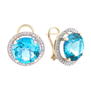 16 Carat 14K Solid Yellow Gold French Clips Earrings Diamond Blue Topaz