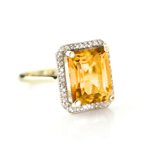 5.8 Carat 14K Solid Yellow Gold Love Parade Citrine Diamond Ring