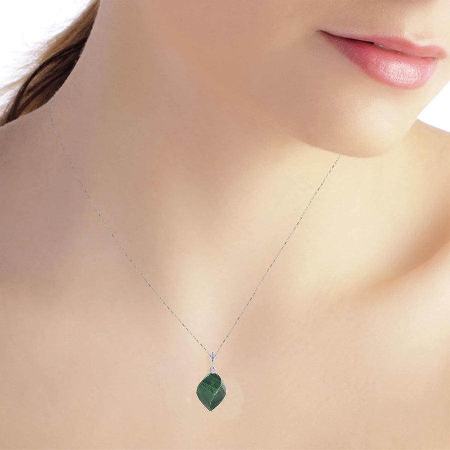 15.25 Carat 14K Solid White Gold Necklace Twisted Briolette Emerald