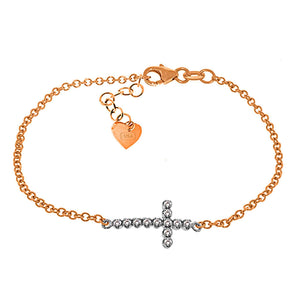 0.18 Carat 14K Solid Rose Gold Cross Bracelet Natural Diamond - Bracelet - valdajewelry - valdajewelry