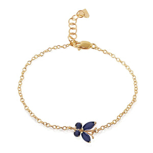 0.6 Carat 14K Solid Yellow Gold Butterfly Bracelet Sapphire