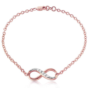 14K Solid Rose Gold Infiniti Bracelet  Natural Diamonds