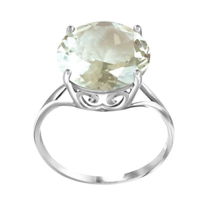 14K Solid White Gold Ring Natural 12 mm Round Green Amethyst Gemstone
