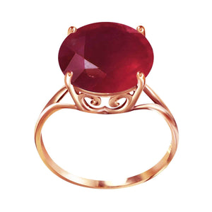 14K Solid Rose Gold Ring  Natural 12.0 mm Round Ruby