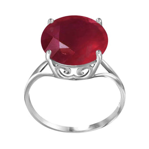 14K Solid White Gold Ring  Natural 12.0 mm Round Ruby
