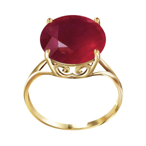 14K Solid Yellow Gold Ring  Natural 12.0 mm Round Ruby