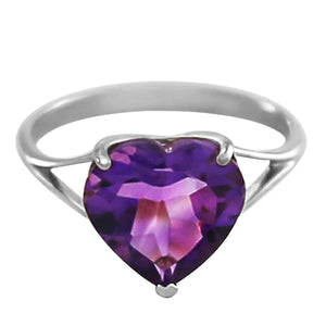14K Solid White Gold Ring  Natural 10.0 mm Heart Amethyst