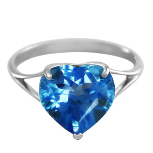 14K Solid White Gold Ring  Natural 10.0 mm Heart Blue Topaz