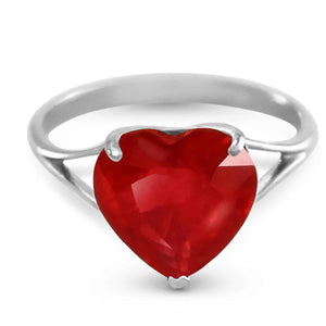 14K Solid White Gold Ring  Natural 10.0 mm Heart Ruby