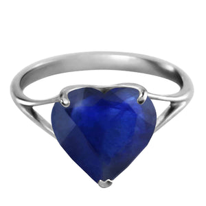 14K Solid White Gold Ring  Natural 10.0 mm Heart Sapphire