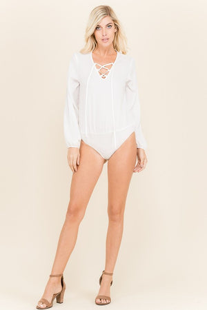 White Lace Up Bodysuit - AcousticLiving