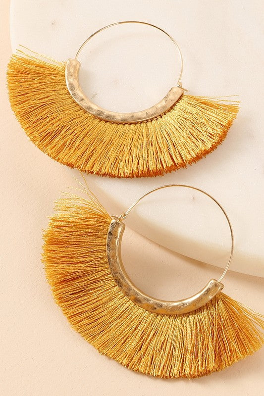 Mustard Fringe Earrings - Acoustic Living Boutique