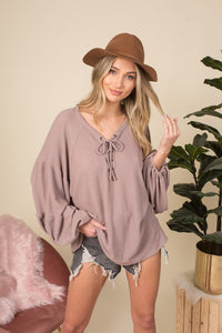 Dusty Taupe Waffle Knit Top - AcousticLiving