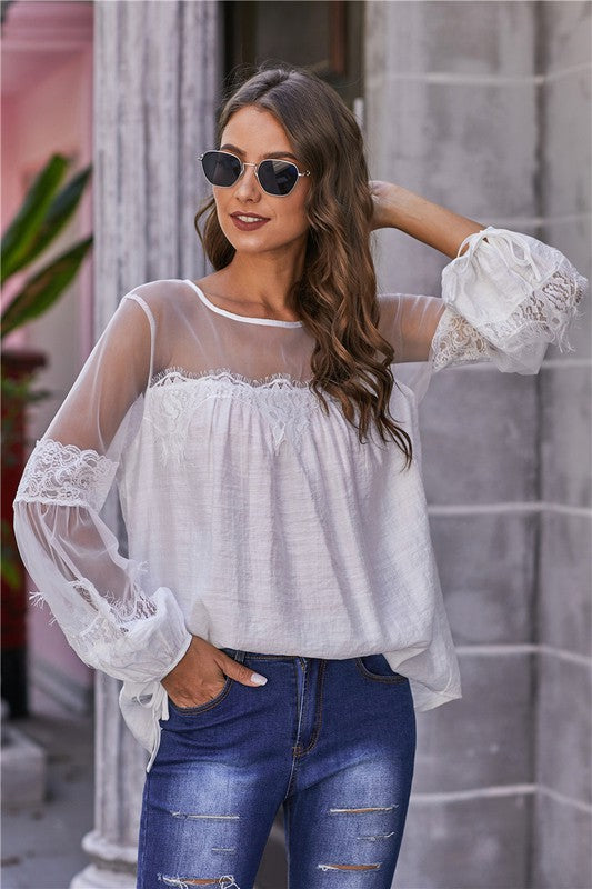 Hannah Lace Top - White - Acoustic Living Boutique