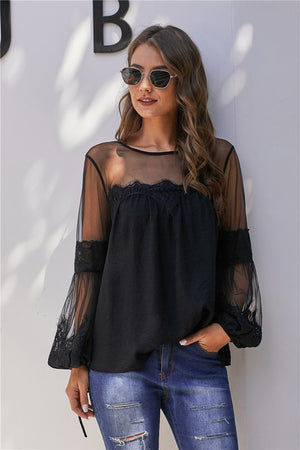 Hannah Lace Top - Black - AcousticLiving