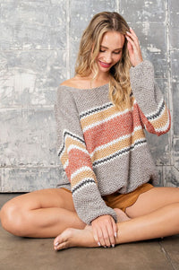 Charleigh Striped Sweater - Acoustic Living Boutique
