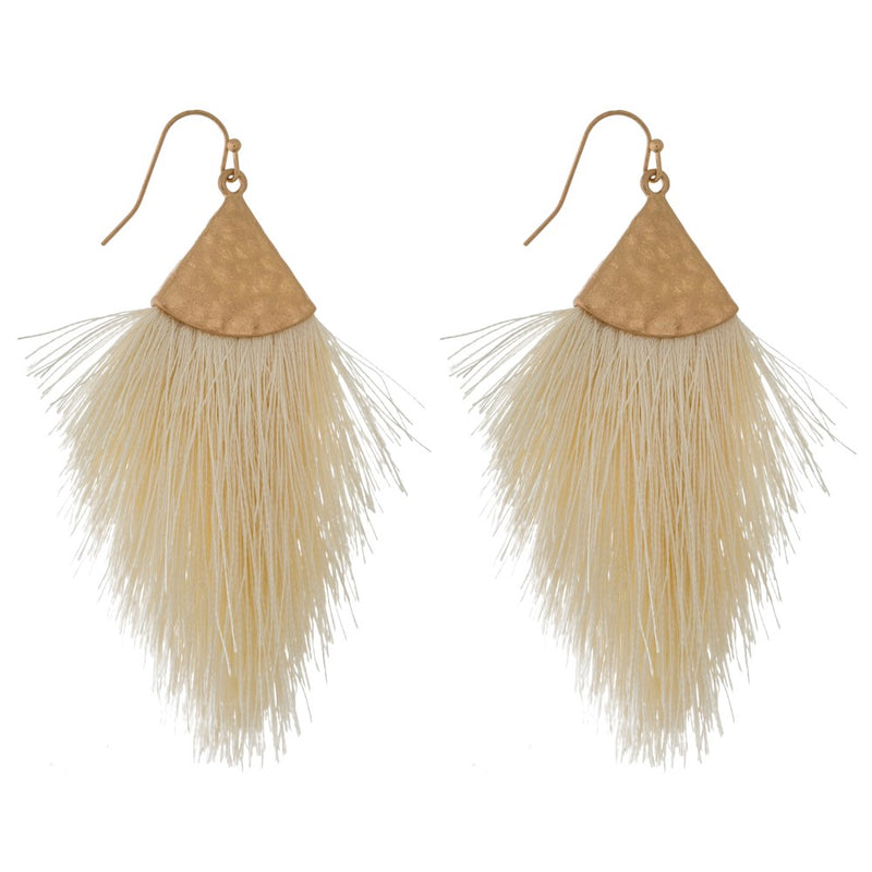 Ivory & Gold Feather Earrings - Acoustic Living Boutique