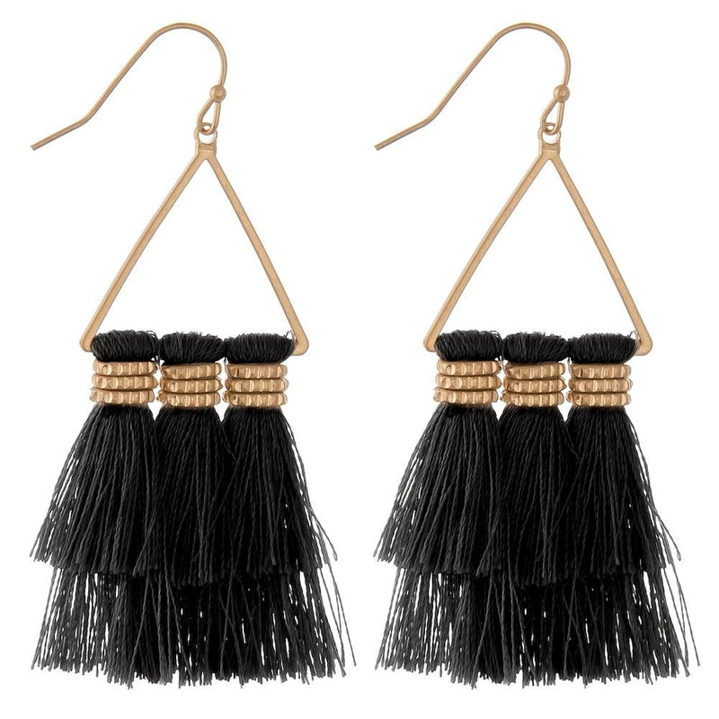 Black Bohemian Tassel Earrings - AcousticLiving