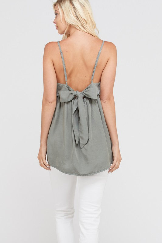 Lucy Bow Back Tank - Light Sage - AcousticLiving