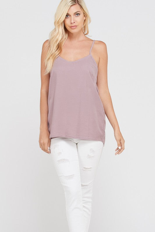 Lucy Bow Back Tank - Mauve - AcousticLiving