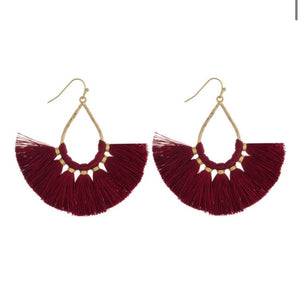 Burgundy Teadrop Earring - Acoustic Living Boutique