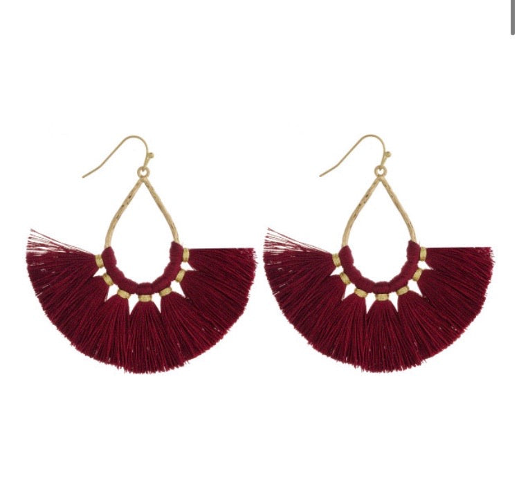 Burgundy Teadrop Earring - AcousticLiving