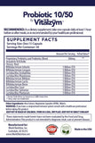 Probiotic 10/50 by Vitalzym Supplement Facts
