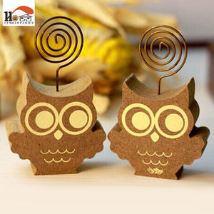 1x CUSHAWFAMILY Cute animals owl hedgehog photos clip holder,wooden message note clip picture holder Home decor Arts crafts gift