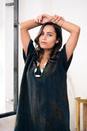 Baja Caftan Dress {short} - Black Rust
