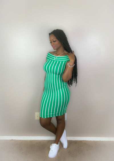 Kelly Green Stripe Dress - Vixen Chic