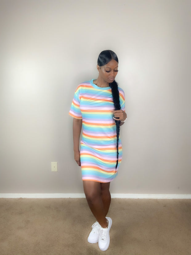 Multi Stripe Tshirt Dress - Vixen Chic