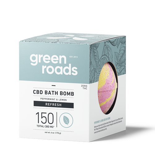 Green Roads - CBD Bath Bomb Peppermint & Lemon Refresh 150mg