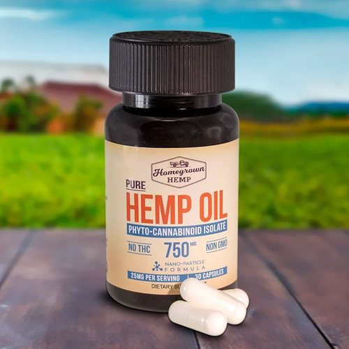 HomeGrown - CBD Capsules Hemp Oil 750mg Isolate 30 caps
