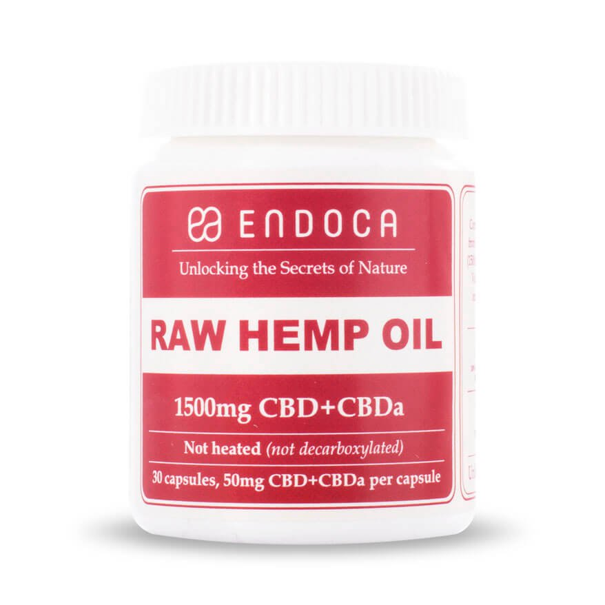 Endoca CBD - Capsule & Pill RAW Hemp Oil 30 Caps 1500mg+CBDa