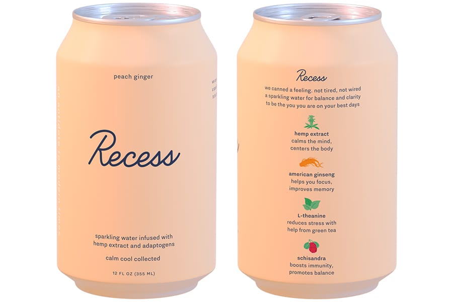 Recess - Hemp Extract Drink Peach Ginger 12oz.